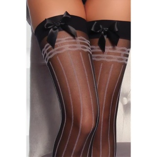 SEXY SUSPENDER STOCKINGS WITH SATIN BOW BLACK/PINK