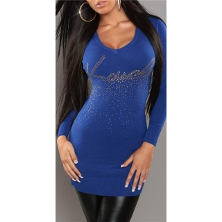 SEXY KNITTED MINIDRESS/LONG SWEATER WITH RIVETS BLUE