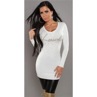 SEXY KNITTED MINIDRESS/LONG SWEATER WITH RIVETS WHITE