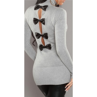 SEXY KNITTED TURTLE NECK MINIDRESS/LONG SWEATER LIGHT GREY