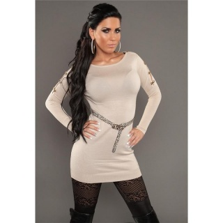 SEXY KNITTED MINIDRESS WITH BELT LOOPS LEOPARD-LOOK BEIGE