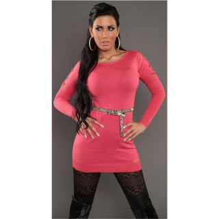 SEXY KNITTED MINIDRESS WITH BELT LOOPS LEOPARD-LOOK CORAL