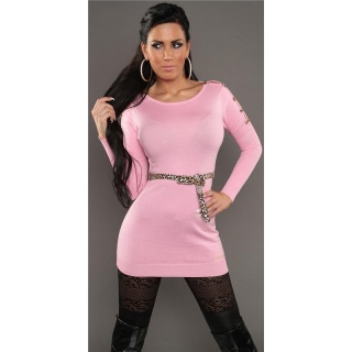 SEXY KNITTED MINIDRESS WITH BELT LOOPS LEOPARD-LOOK PINK