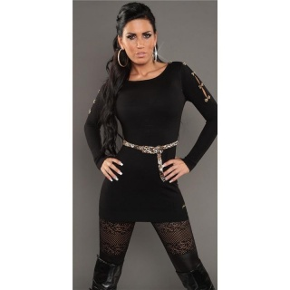 SEXY KNITTED MINIDRESS WITH BELT LOOPS LEOPARD-LOOK BLACK