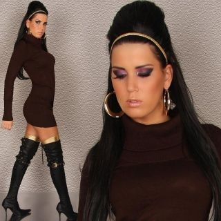 SEXY KNITTED MINIDRESS BROWN