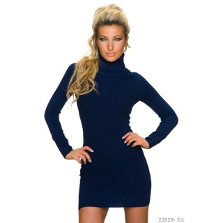 SEXY KNITTED MINIDRESS WITH TURTLE NECK AND RHOMBIC PATTERN NAVY