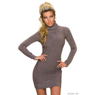 SEXY KNITTED MINI DRESS WITH TURTLE NECK AND RHOMBIC PATTERN TAUPE