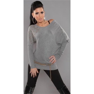 ELEGANT FINE-KNITTED LONG SWEATER WITH RIVETS RHINESTONES GREY