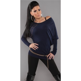 ELEGANT FINE-KNITTED LONG SWEATER WITH RIVETS RHINESTONES NAVY