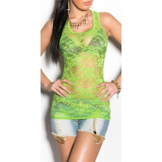 SEXY TANKTOP LACE GOGO CLUBWEAR LIGHT GREEN