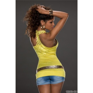 SEXY TANKTOP LONG TOP WITH EMBROIDERY AT THE BACK YELLOW