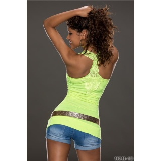 SEXY TANKTOP LONG TOP WITH EMBROIDERY AT THE BACK NEON-YELLOW