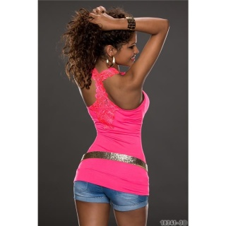 SEXY TANKTOP LONG TOP WITH EMBROIDERY AT THE BACK NEON-FUCHSIA