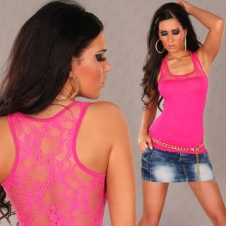 SEXY TANKTOP TOP WITH LACE FUCHSIA