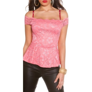SEXY TOP IN LATINA-STYLE MADE OF LACE WITH PEPLUM SALMON