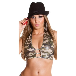 SEXY TOP IN ARMY LOOK WITH RHINESTONES GOGO CLUBWEAR OLIVE-GREEN