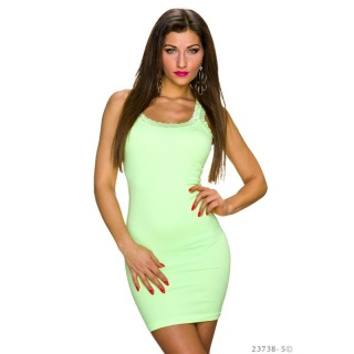 SEXY STRAP MINIDRESS WITH FINE LACE NEON-YELLOW