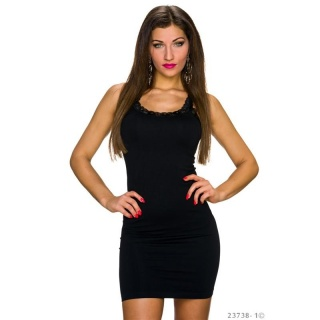 SEXY STRAP MINIDRESS WITH FINE LACE BLACK