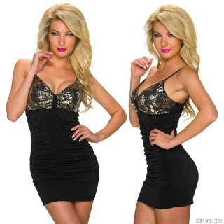 SEXY STRAPPY MINI DRESS WITH SEQUINS AND GATHERS BLACK/GOLD