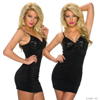 SEXY STRAPPY MINI DRESS WITH SEQUINS AND GATHERS BLACK