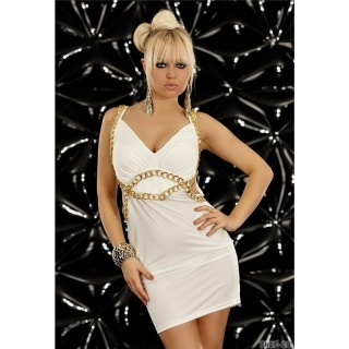 SEXY STRAPPY MINIDRESS WITH CHAINS WHITE