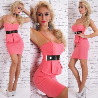 SEXY STRAP MINIDRESS PARTY DRESS WITH HALF-PEPLUM CORAL