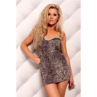 SEXY STRAPPY MINIDRESS WITH RHINESTONES LEO-LOOK BROWN/BLACK