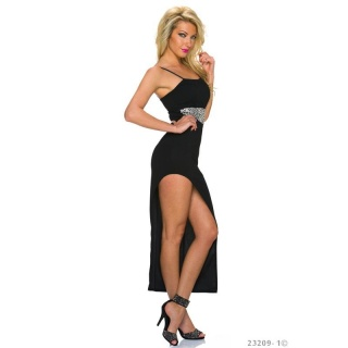 SEXY PARTY STRAP DRESS WITH SEQUINS AND HIGH LEG SLIT BLACK