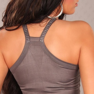 SEXY STRAPPY TOP LONGTOP WET LOOK WITH RIVETS CLUBWEAR GREY