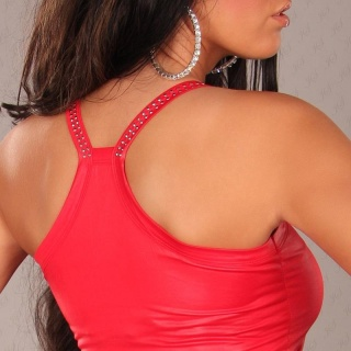 SEXY STRAPPY TOP LONG TOP WET LOOK WITH RIVETS CLUBWEAR RED