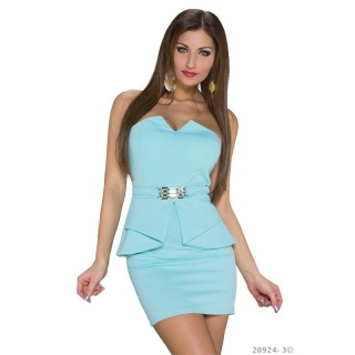 SEXY STRAPLESS EVENING MINIDRESS WITH PEPLUM MINT GREEN