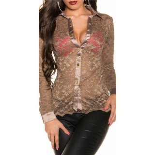 SEXY TRANSPARENT LONG-SLEEVED BLOUSE MADE OF LACE CAPPUCCINO