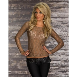 SEXY TRANSPARENT LONG-SLEEVED SHIRT MADE OF LACE BROWN