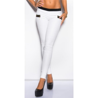 SEXY TREGGINGS PANTS IN LEATHER-LOOK WITH ZIPS WHITE