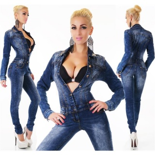 SEXY USED-LOOK JEANS OVERALL JUMPSUIT SLIM-FIT WITH RHINESTONES DARK BLUE