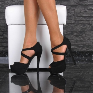 SEXY VELOUR PEEP TOE SANDALS PLATFORM HIGH HEELS SHOES BLACK