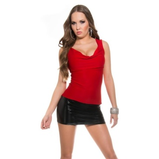 SEXY COWL-NECK MINI DRESS WITH WET LOOK INSET RED/BLACK