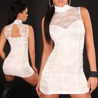 SEXY REVERSIBLE MINIDRESS WITH LACE WHITE
