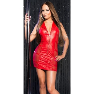SEXY STRIPPER MINI DRESS WITH CHIFFON CLUBWEAR RED