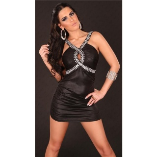 SEXY WET LOOK MINIDRESS PARTY DRESS WITH GLASS STONES BLACK