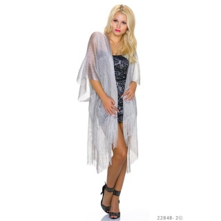 SEXY WRAP CARDIGAN TRANSPARENT WITH GLITTER AND FRINGES SILVER
