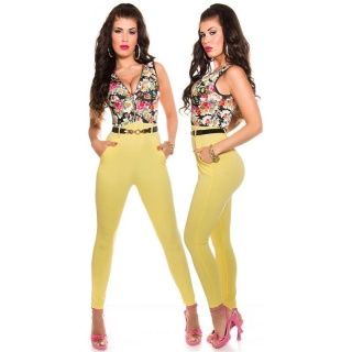 SUMMERLY SLEEVELESS OVERALL JUMPSUIT WITH FLOWERS YELLOW