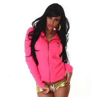 BEAUTIFUL RIB-KNITTED JACKET WITH HOOD AND GOLD-PRINT FUCHSIA