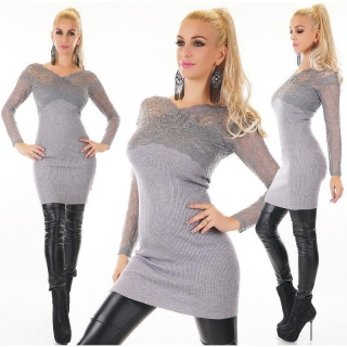 STYLISH LADIES RIB-KNITTED SWEATER PULLOVER WITH LACE GREY