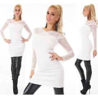 STYLISH LADIES´ RIB-KNITTED SWEATER PULLOVER WITH LACE WHITE