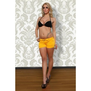 SWEET JEANS HOTPANTS SHORTS WITH TURN-UP HEM YELLOW