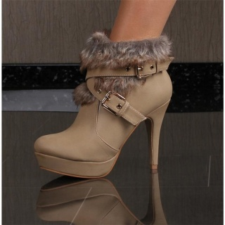 SWEET ANKLE BOOTS SHOES HIGH HEELS WITH ARTIFICIAL FUR KHAKI