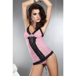 SWEET 2 PCS CAMI-SET TOP AND STRING WITH LACING PINK/BLACK
