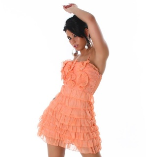 SWEET CHIFFON MINI DRESS WITH FLOUNCES APRICOT