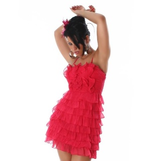 SWEET CHIFFON MINI DRESS WITH FLOUNCES FUCHSIA